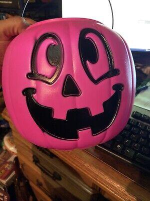 Blow Mold HOT PINK Halloween pumpkin Pail treat bucket General Foam Plastics