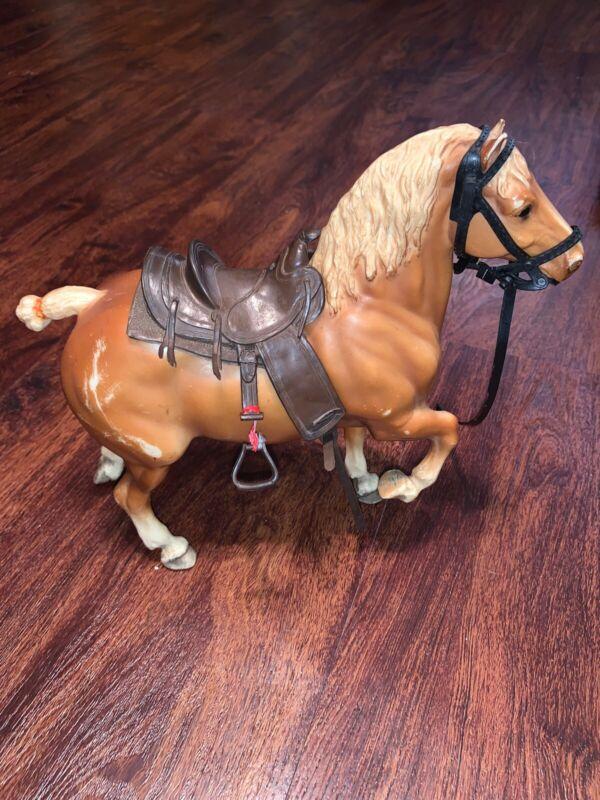 BREYER Traditional Mold BELGIAN DRAFT HORSE Reddish Chestnut Vintage W/ Saddle
