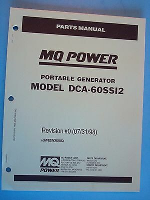 Mq Power Dca-60ssi2 Portable Generator Parts Manual Revision 0 073198