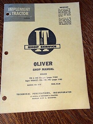 Oliver Shop Service Manual It Series Model 99gmtc 950 990 995 770 880 0-13