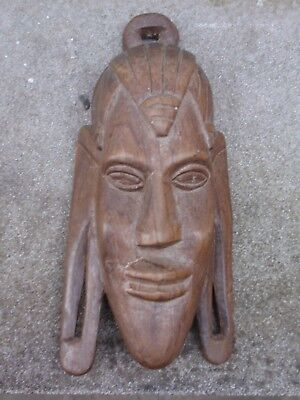 VINTAGE HARDWOOD HAND CARVED WOOD AFRICAN FIGURE WALL FACE MASK
