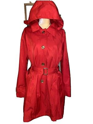 Michael Kors Red Hooded Belted Trench Raincoat Removable Hood Ladies S 2X Plus
