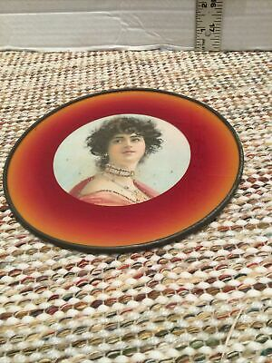 """Antique Victorian Chimney Flue Cover Gold/Red french lady W/ Necklaces On 7"""""""