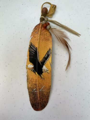 NEW HAND PAINTED FEATHER , ARTS & CRAFTS ,SOUTHWEST ART , NEW , FLYING EAGLE 3