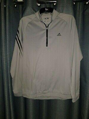 Adidas Golf Grey 1/4 Zip Pullover Thin Jumper Medium M Top Golfing Shirt