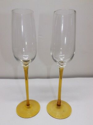 2 CRYSTAL HONEY GOLD WINE CHAMPAGNE FLUTES STEMWARE GLASSES
