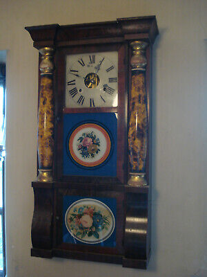19TH C AMERICAN SHELF WALL CLOCK SETH THOMAS THREE GLASS WITH COLUMNS