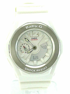 CASIO BABY-G  Analog Digital Display White Dial BGA140-7B White Resin Band watch