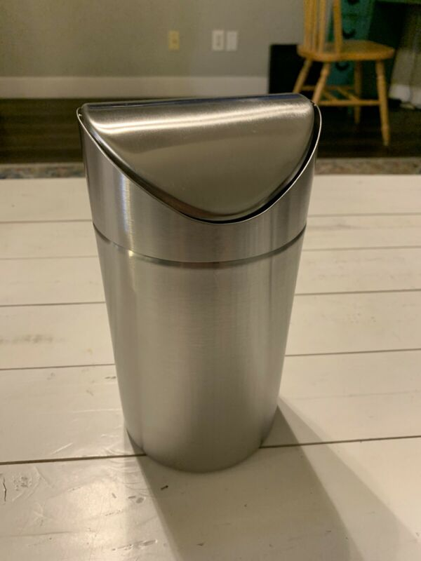 American Metalcraft TIM2 S/S Large Table Top Waste Bin with Swing Lid