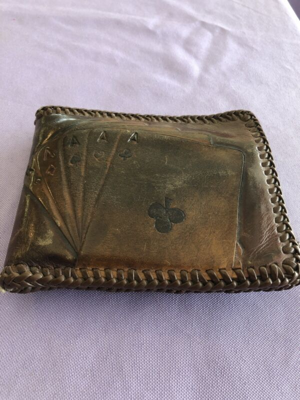 Vintage Handmade Leather Bifold Wallet Poker Playing Cards Stitched
