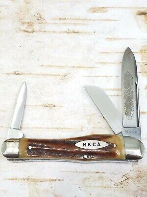 Vintage Solingen Germany Kissing Crane Stag 1980 NKCA Dogleg Stockman Knife