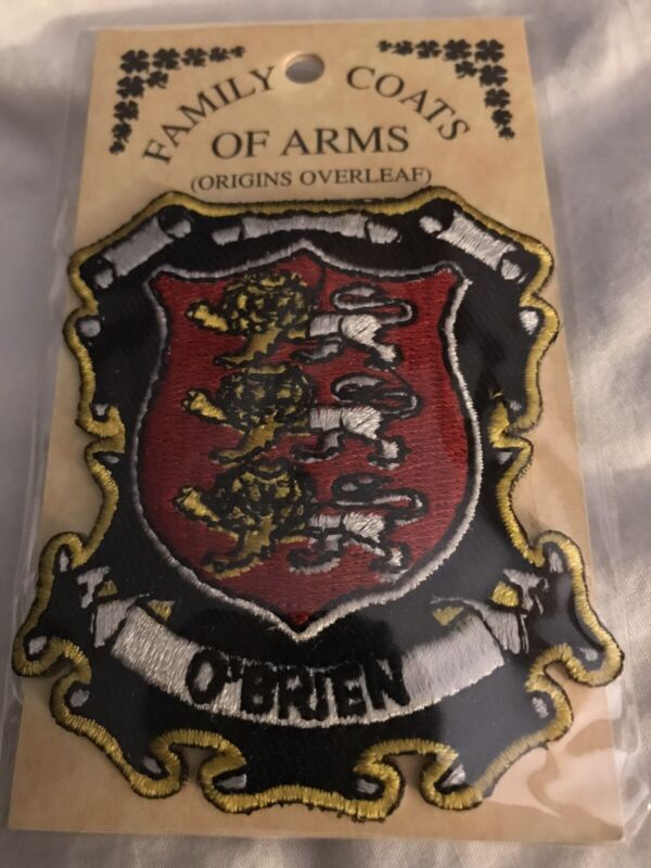O'BRIEN Family PATCH Coat of Arms Crest Embroidered Badge ORIGINS OVERLEAF