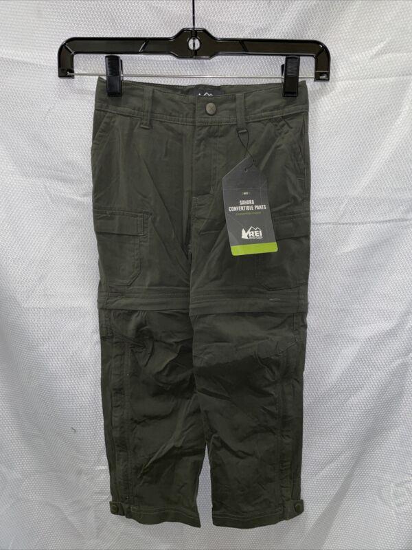 REI Sahara Convertible Pants - Dark Army Cot - Boys XXS (4-5)