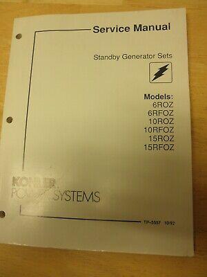 Kohler Standby Gen Sets Service Manual 6roz6rfoz10roz10rfoz15roz15rfoz