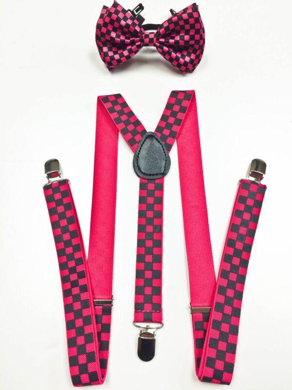 Pink Black Men Women Clip-on Suspender + Bow-tie All Checker Combo Adjustable
