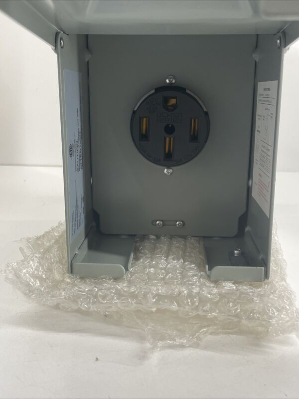 Miady 50 Amp 125/250 Volt Rv Power Outlet Box, Enclosed Lockable Weatherproof Rv