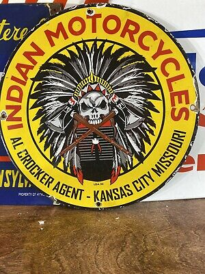 """VINTAGE 32 """"INDIAN MOTORCYCLES"""" GAS & OIL PLATE HEAVY PORCELAIN SIGN 12 INCH"""