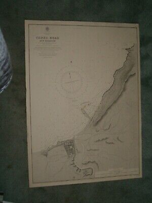 Vintage Admiralty Chart 3301 NORTH AFRICA - TENEZ ROAD & HARBOUR 1902 edition