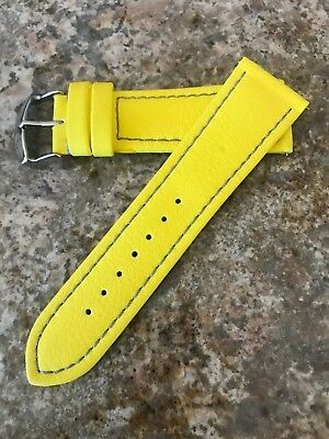 26mm Hadley Roma Lorica Men's Vegan Leather Dive Watch Band Strap Yellow MS909