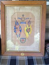 East Yorkshire military painting of flags/insignia. Under glass Riverstone Blacktown Area Preview