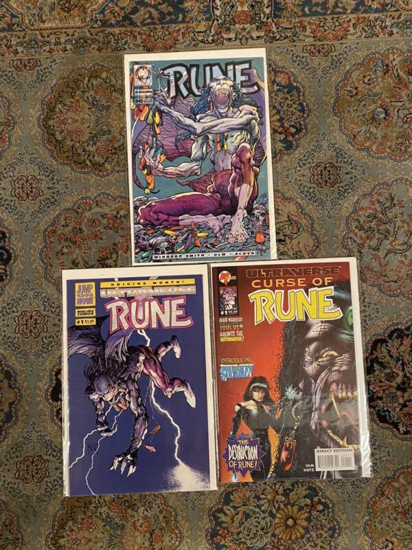 Rune 0 & 1 Malibu Curse Of Rune 1 Ultraverse NM/NM+ 1st App Rune Rare HTF Venom