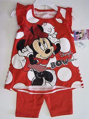 Disney Minnie Mouse Short Sleeve Shirt & Pants Outfit Girls 12M 18M 24M 2T 3T 4T (Minnie Mouse Outfit 2t)