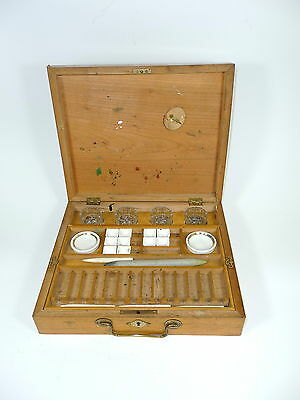 Malkasten mit Porzellan Utensilien um 1900 Kasten