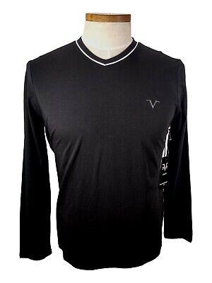New VERSACE V Logo SHIRT T-SHIRT ITALIA Long Sleeve MRP$52 Mens Black Small