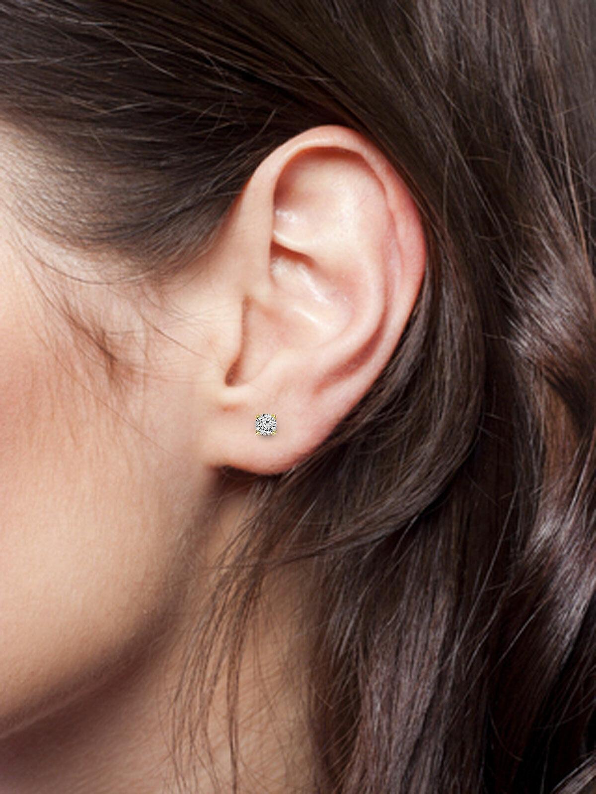 Round Cut Diamond 1 Pair Women's Stud Earring Solid Gold Jewelry 0.46 ctw. 7