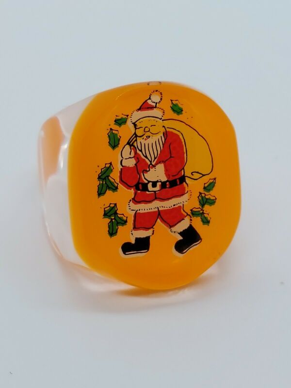 Vintage Santa Claus Christmas Chunky Clear & Orange Lucite Ring Size 9