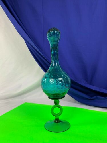 ITALIAN BLUE AND GREEN EMPOLI DRAPED OPTIC GLASS RING STEM VASE