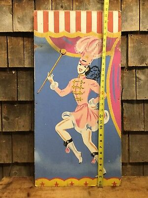 Vintage Original Circus Carnival Majorette Folk Art Painted Sign Panel 30x15