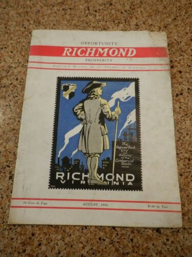 August 1916 Richmond Virginia Chamber of Commerce Promotional Magazine 24+ pages
