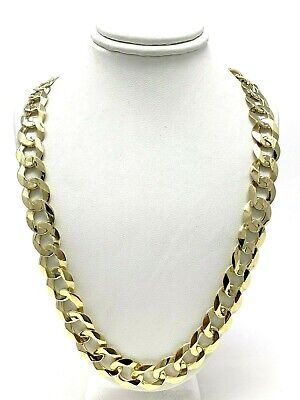 """Men's 14k Yellow Gold Solid Flat Cuban Chain Link Necklace 24"""" 11.5mm 66 grams"""
