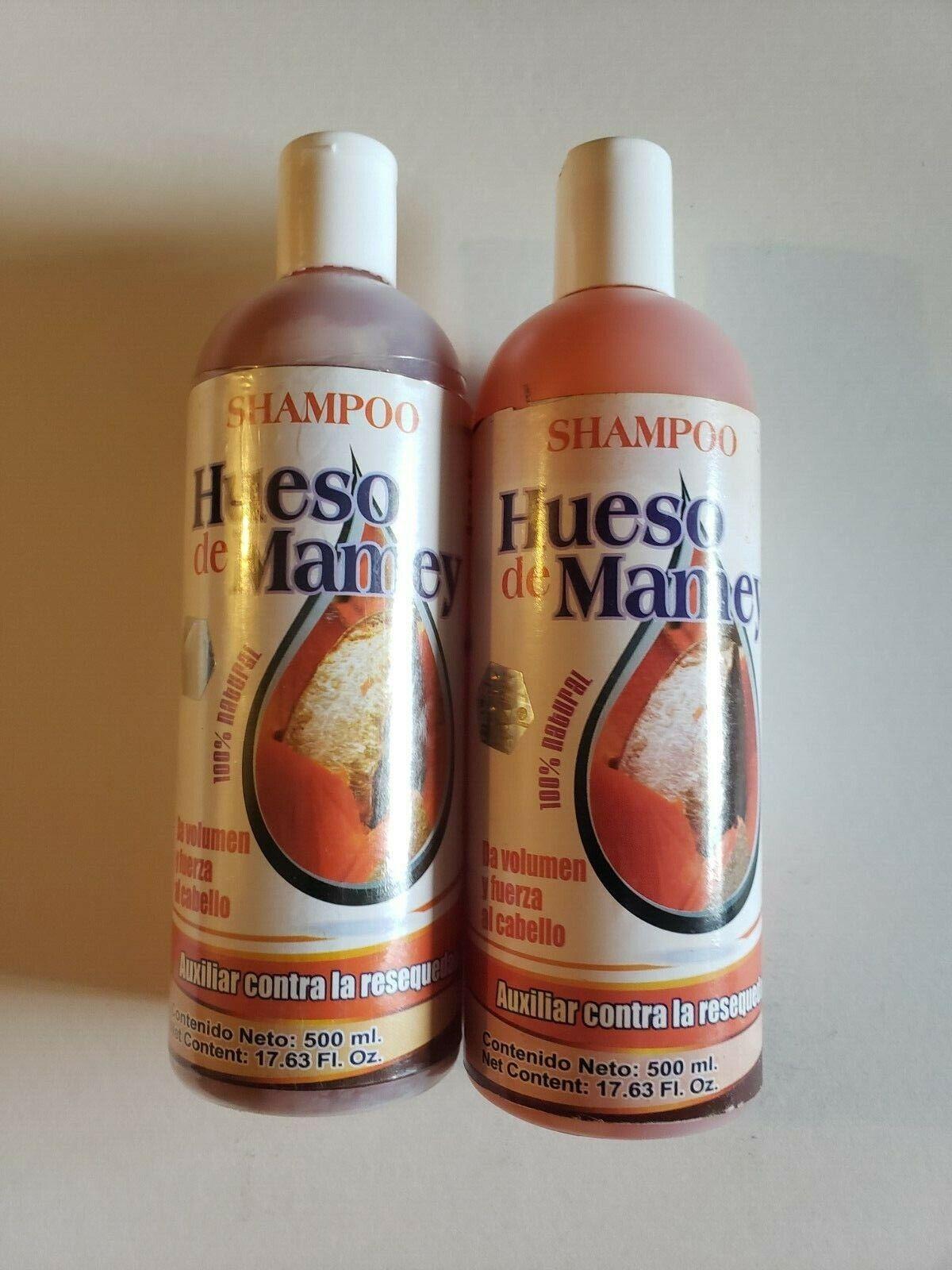 2 SHAMPOO HUESO DE MAMEY 100% NATURAL AUXILIAR CONTRA LA RESEQUEDA 17.63OZ