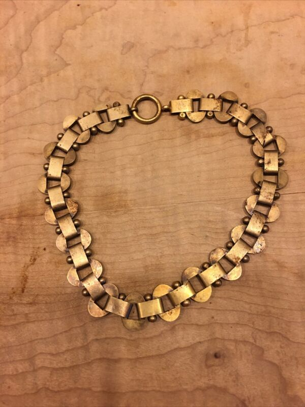 Vintage Brass Gold Tone Chocker Necklace 16 Inches Long