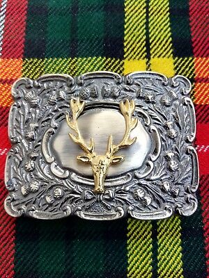Men's Round Thistle Stag Head Kilt Belt Buckle Brass Antique & Gold Finish