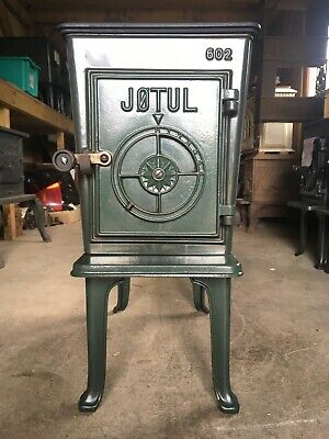 Jotul 602 Classic Cast Iron Wood Burning Stove Green Enamel Top Flue Exit #3