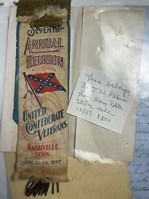 Confederate UCV Ribbon J D C Atkins 5th Tennessee Nashville Paris