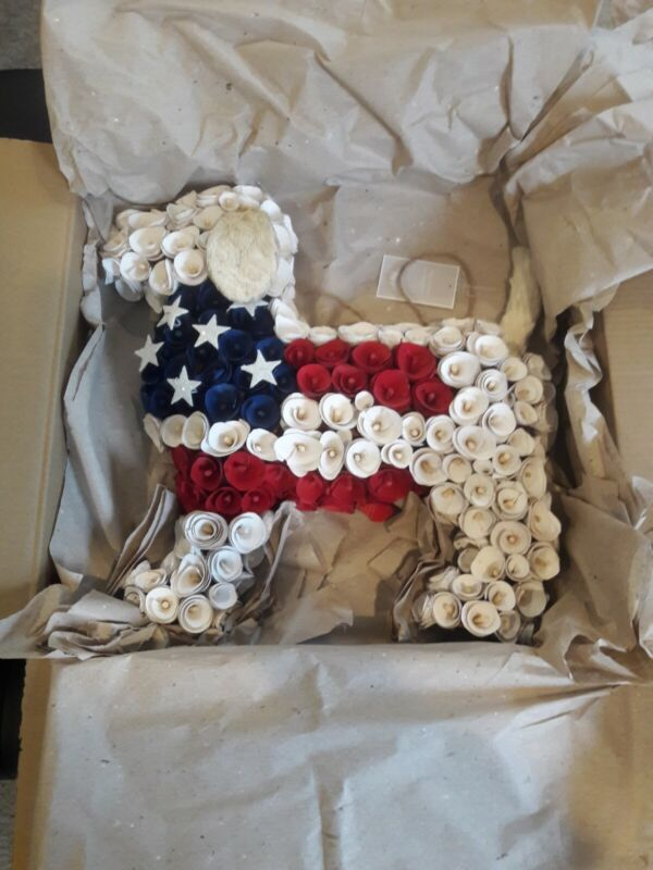 Pier 1 Imports Wood Curl America Patriotic Dog Wreath Red White Blue NWT, RARE!