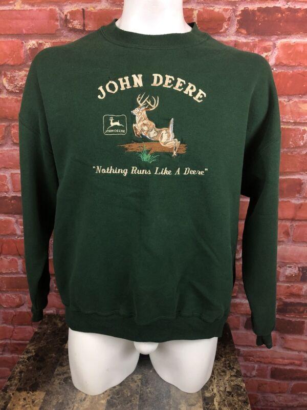 True Vintage John Deere USA 2XL Crewneck Sweatshirt Embroidered Green (D4)