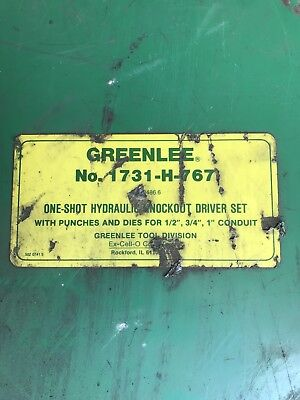 Greenlee 1731-h-767 C Frame One-shot Hydraulic Knockout Driver Set Wpump Dies