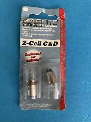 MAGLITE White Star Krypton Replacement Bulbs 2 C or D Cell Lights 2 Pack