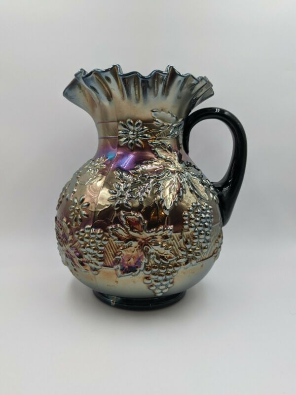 Antique Dugan Floral And Grape Amethyst Carnival Glass Pitcher