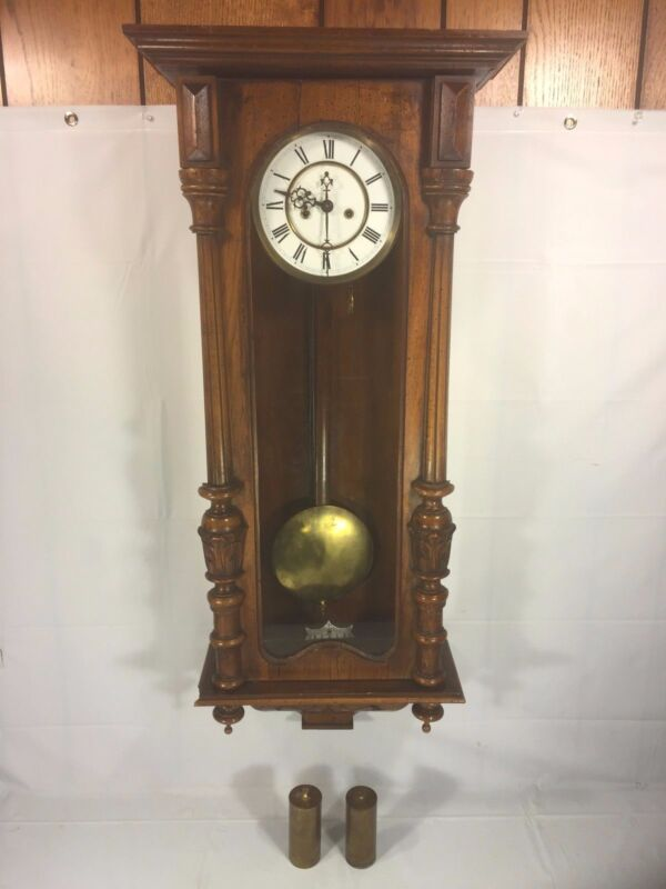 Antique 1886 Gustav Becker Vienna Wall Regulator Clock Running & Striking