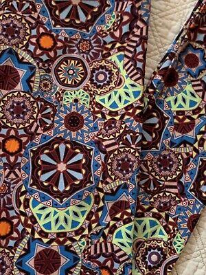 LuLaRoe Leggings OS Medallion Pinwheel Kaleidoscope Lime Green BurgundyVINTAGE