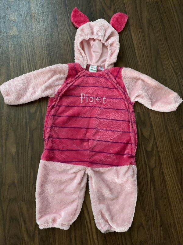 Disney Store PIGLET Costume Infant Size 24 Months One Piece Warm Zip Front