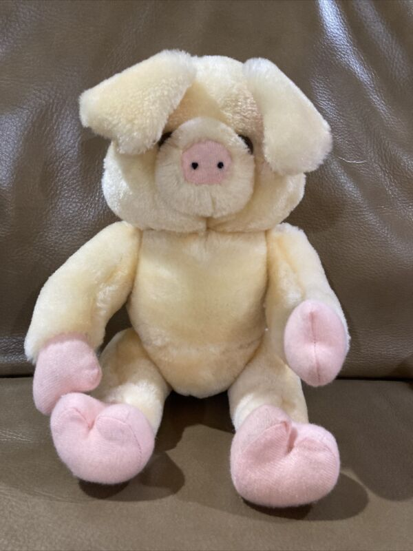 """Jointed pig with movable limbs tan/pink plush Toy 11"""""""