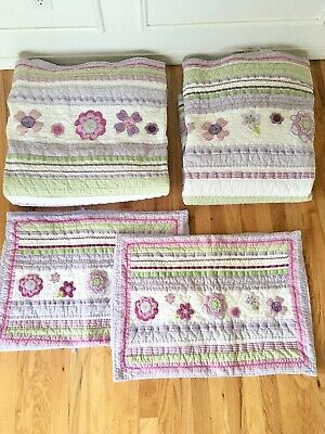 Pottery Barn Kids Twin set of 2 bunk bed quilt sham purple lavender flowers