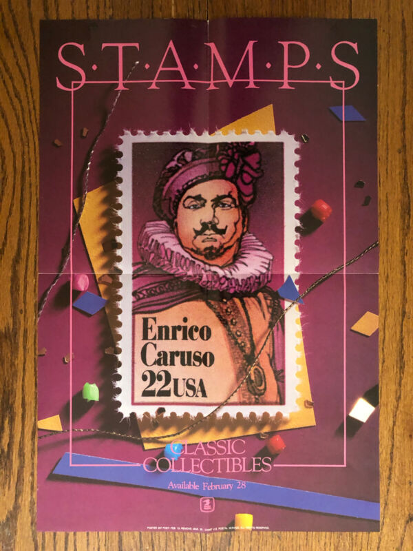 Poster USPS Enrico Caruso Stamp 1987